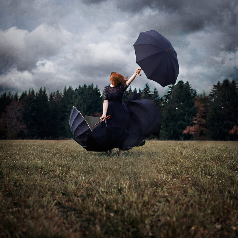 Delphine Millet Blow - Staged photography delicate sensitive surrealist dream magic mystic witch wind nature power umbrellas - Art conceptual photographer in Berlin