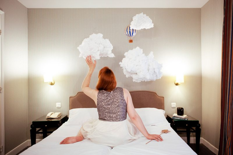 Delphine Millet Jardin de l'Odéon PHPA - Staged photography delicate sensitive surrealist minimalist clouds hotel room dreams - Art conceptual photographer in Berlin