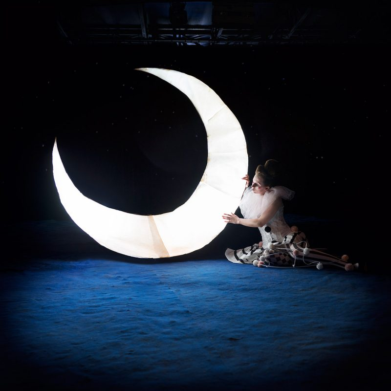 Delphine Millet Moonchild - Staged photography delicate sensitive pierrot moon circus magic surrealist - Art conceptual photographer in Berlin