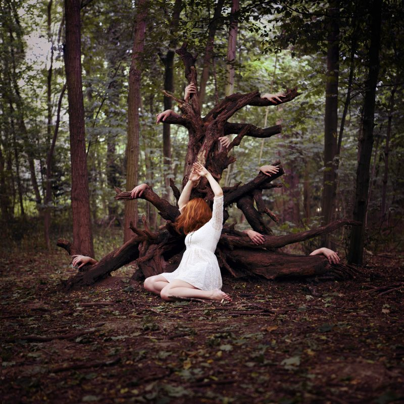 Delphine Millet Tree of prayers - Staged photography delicate sensitive magic surrealist woods hands possessed witch - Art conceptual photographer in Berlin
